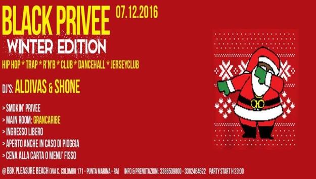 Black Privee *Winter Edition* BBK Pleasure Beach Mercoledi' 7 dicembre 2016