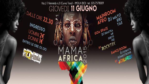 Giovedi 11 giugno ritorna alle Acque di Imola la serata MAMAAFRICA