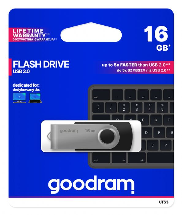 PENDRIVE USB 16GB USB3.0 BLACK